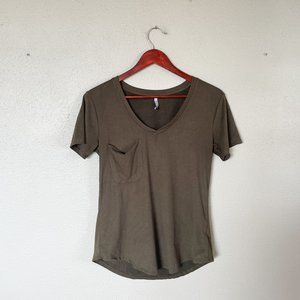 Z Supply Olive Green Faux Suede Pocket Tee
